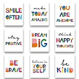 """Watercolor Words Inspirational Quote Modern Minimalist Typography Art Print Set of 9 (8""""X10"""") Canvas Painting,Motivational Quote Phrases Wall Art Poster For Nursery or Kids Room Home Decor,No Frame"""