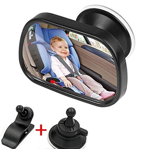 Qgg Asiento Trasero del Coche De Bebé Ver Espejo 2 En 1 Mini Niños Trasera del Espejo Convexo Ajustable Auto Niños Monitor De Accesorios del Coche Cubierta de Espejo Lateral (Color : Black)