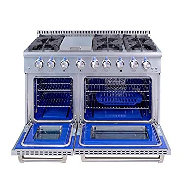 Thor 48 inch Gas Range - Freestanding Range with 6.7 Cu. Ft. Oven, 6 Burners 1 Griddle, Pro-Style in Stainless Steel + LP Conversion Kit