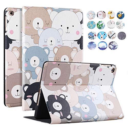 Tomcrazy for iPad Mini 2019 Leather Case 5 7.9-inch, Cartoon Cute Bear Slim Stand Smart Tablet Cover with Auto Sleep/Wake PU Leather Soft TPU Case for New iPad Mini 5 2019 / iPad Mini 4 (2015)