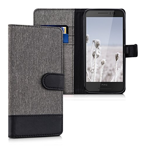 kwmobile HTC One S9 Hülle - Kunstleder Wallet Case für HTC One S9 mit Kartenfächern & Stand - Grau Schwarz