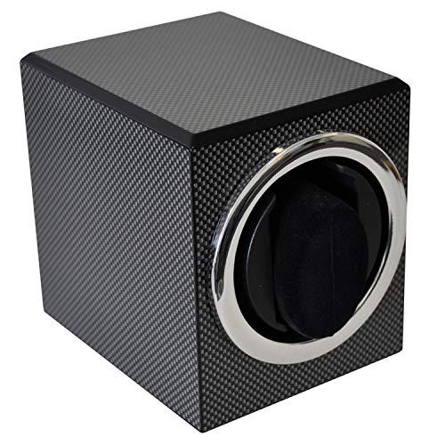 SELVA Uhrenbeweger RF – Carbon-Look – Für 1 Uhr – Batterie-Antrieb – Rechts- und Linkslauf – Optimal auch für den Betrieb im Tresor