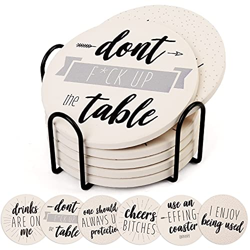 LotFancy Funny Coasters for Drinks Absorbent with Holder, 6PCS Ceramic Coasters with Cork Base, Round Coasters with 6 Sayings, Non-Slip, Bar Room Decor Housewarming Gift