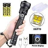 ShineTool XHP70 Lampe de poche LED 3.500 lm Lampe à hautes performances Lampe étanche USB avec batterie et câble USB, 3 modes avec indicateur de puissance Pour le camping, la randonnée, les urgences