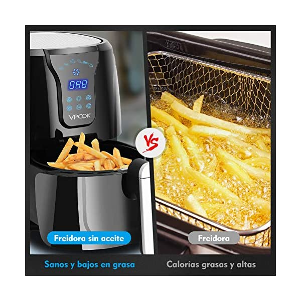 VPCOK-Freidora-sin-Aceite-36L-Freidora-de-Aire-Caliente-con-6-Programas-Air-Fryer-con-Temperatura-y-Temporizador-Ajustable-Cesta-Antiadherente-Libre-de-BPA