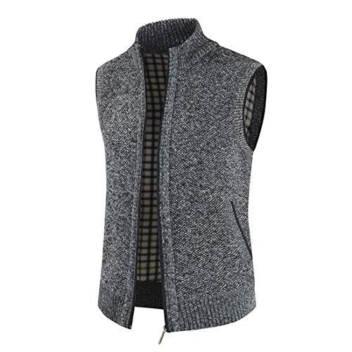 DOLAA Chaleco cálido para hombre, de punto, con cuello en V y cremallera completa Un gris. L