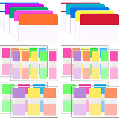 Jovitec 840 Pieces Sticky Index Tab Page Marker Tabs 3 Sizes Writable and Repositionable Filing Tabs Flags for Pages or Markers, Notes, Classify Files, 42 Sets 10 Assorted Colors (840 Pieces Style B)