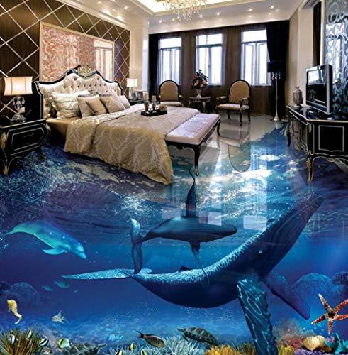 Tapete Boden Malerei schöne Wal Delfine Unterwasserwelt 3D Badezimmer Wohnzimmer Boden-350 * 245cm