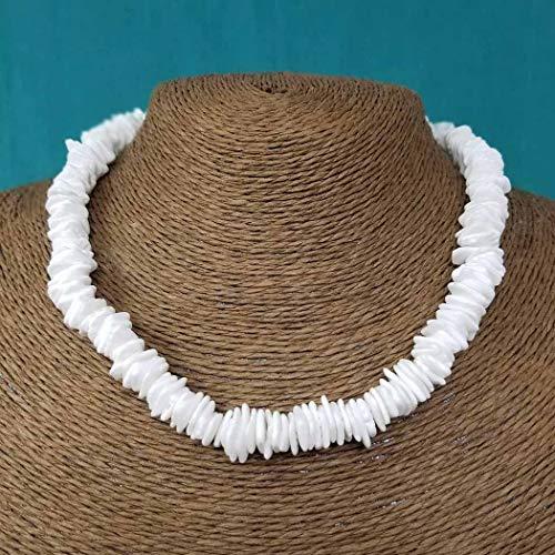 Aukmla Silver Boho Puka Seashell Necklace Beach Braid Pooka Shell Choker Necklaces Jewelry for Women and Girls