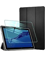 AROYI Funda Kompatibelpara Huawei MediaPad T5 10 con Protector Pantalla, Carcasa Silicona TPU Smart Cover Case con Soporte Función para Huawei MediaPad T5 10 10,1 2018 (Negro)