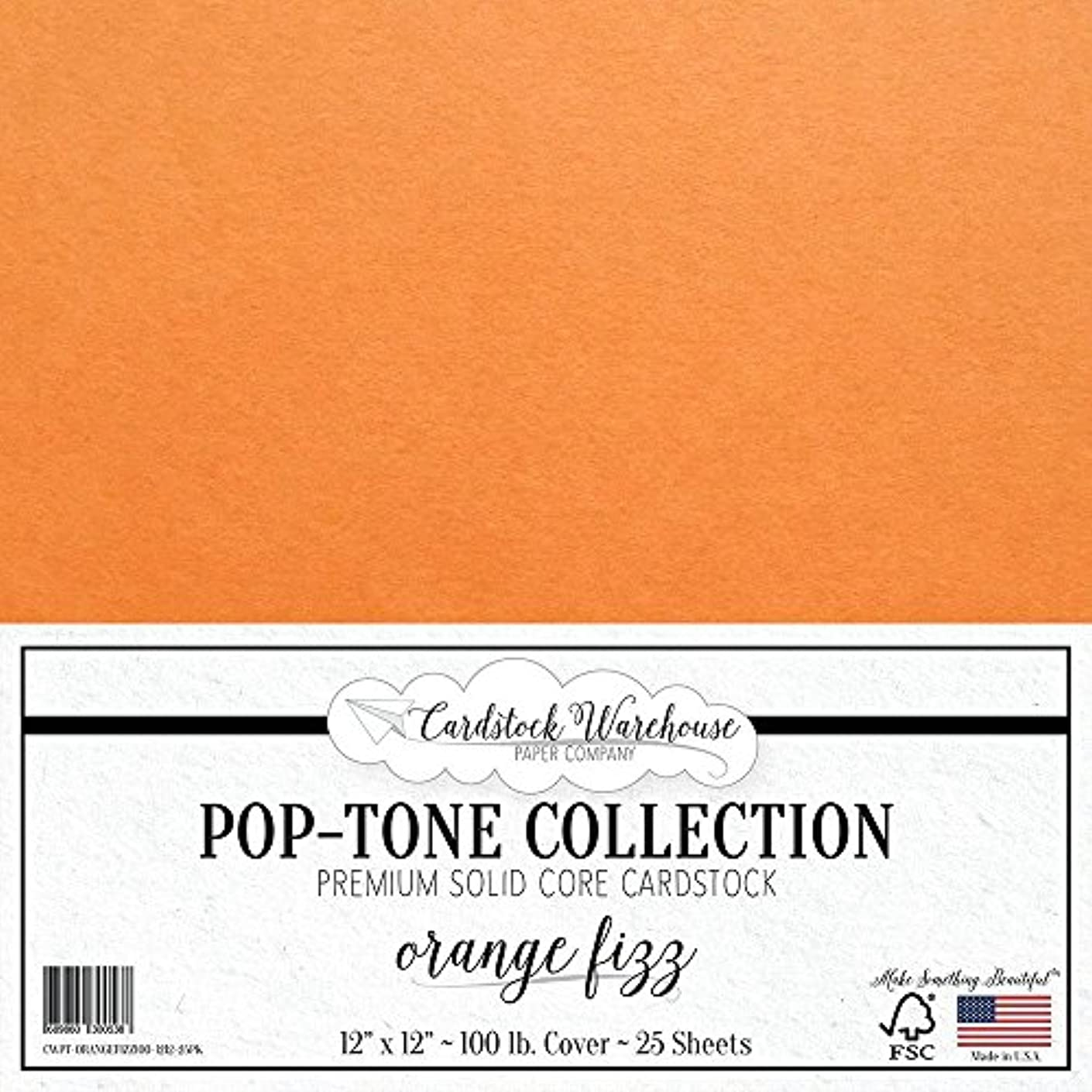 Orange Fizz Cardstock Paper - 12 x 12 inch 100 lb. Heavyweight Cover - 25 Sheets from Cardstock Warehouse