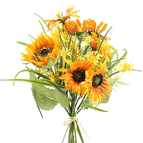 MHMJON Artificial Silk Sunflowers Fake Sunflowers Bouquet Wedding Yellow Faux Floral Daisies for Indoor Home Kitchen Office DIY Table Centerpieces Decoration