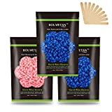 Wax Beads for Hair Removal, Auperwel Hard Wax Beans for Brazilian, Face, Bikini, Eyebrow, Legs, At Home Painless Waxing Beads 10.5oz for Women Men 3 packs