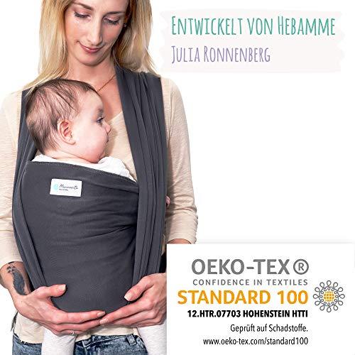 Tragetuch Baby aus OEKO TEX Baumwolle von Hebamme - Babytragetuch - Baby Sling Carrier für Neugeborene bis 15 kg - Babytuch 5m lang - inklusive Aufbewahrungsbeutel & Bindeanleitung - dunkelgrau
