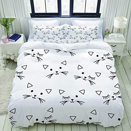 ZELXXXDA Parure de lit,Modèle sans Couture Animal tête de Chat,1 Housse de Couette 240x260 + 2...