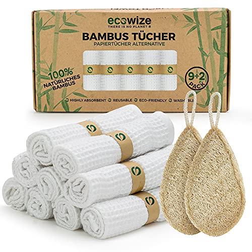 Ecowize - Bambus Tücher (9er Set) mit 2X Extra Luffa Schwamm - Bambus Putztücher aus 100{49b568ab5f5825834547468a1af15903cb19b28c4d61dcb29d41e98091048e86} Erneuerbarem Bambus - Wiederverwendbare & Super Saugfähige Bio-Bambustücher Waschbar - Zero Waste Lappen