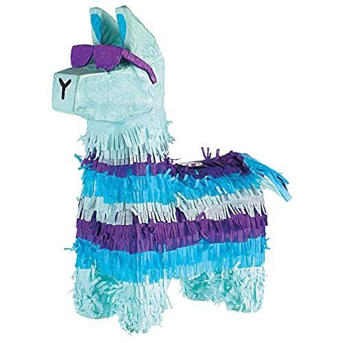 Amscan P19785 - Pinata Cooles Lama, 1 Stück, aus Papier, Farbe: Blau-Türkis, befüllbar mit kleinen Geschenken oder Süßigkeiten, perfekt für Kindergeburtstag und Mottoparty, Dekoration, Geschenk