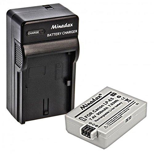 Impulsfoto Minadax® Ladegeraet 100% kompatibel Fuer Canon LP-E5 inkl. Auto Ladekabel, Ladeschale austauschbar + 1x Akku wie LP-E5