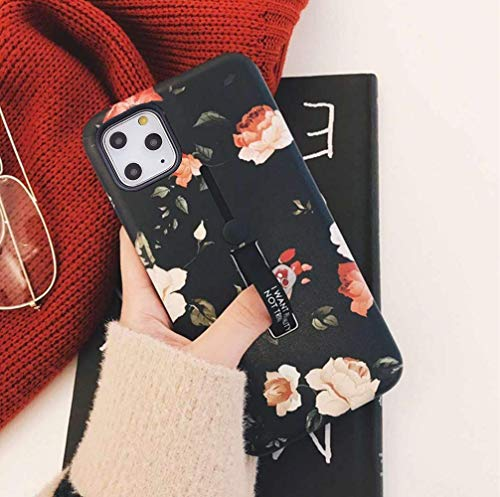 LMING iPhone 11 Pro Max Case with Finger Grip, 3D Embossed Flowers Design Rugged Shockproof Slim Fit Dual Layer Finger Ring Loop Strap Case with Finger Strap for iPhone 11 Pro Max