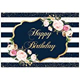 Allenjoy 7x5ft Happy Birthday Backdrop Pink Rose Glitter Navy Blue White Stripes Photography Background for Women 20th 30th 40th 50th Bday Party Girls Sweet 16 Cake Table Decor Banner Photo Booth Prop