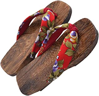 HEALLILY Japanese Wooden Geta Sandals Confortable for Girls Students Cosplay Photography Supplies (Red) - 16-22