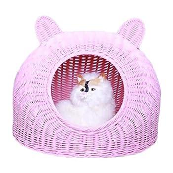 Hlyp Chat Maison Kennel Pet Bed Rattan-Cat Nest Summer Supplies Cat Cat Nest Cat Sleeping Lit Chenils Respirant (Color : Pink M)