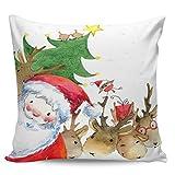 Winter Rangers Fundas de almohada decorativas, diseño de árbol de Navidad de Santa Claus Alce de Navidad lindo patrón ultra suave funda de cojín cuadrada cómoda funda para sofá dormitorio, 61 x 60 cm