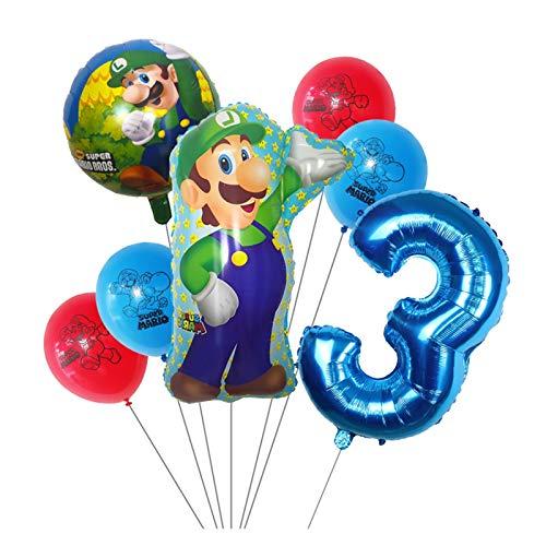 Xx101 Globo 7 unids Super Mario Globos 30 Pulgadas Número 1 2 3 Balloon Boy Cumpleaños Decoración de la Fiesta de la Fiesta de Dibujos Animados Game Theme Party Supplies Kids Toys (Color : Olive)