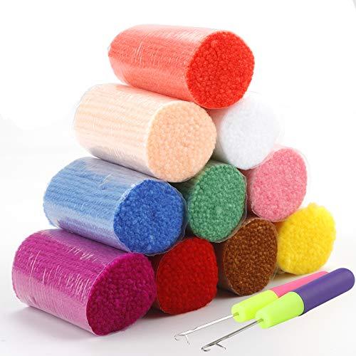 Rybtd 10 piezas Hilo de lana precortado de color,Acrílico colorido Hilo de alfombra anudado con Gancho de crochet para alfombras tejidas, artesanías, textiles