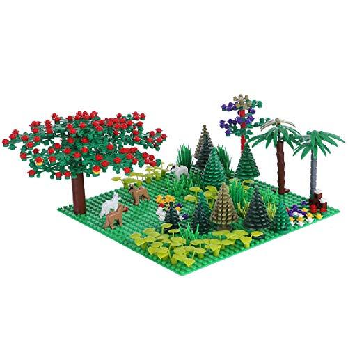 YZHM Waldanlagen Bausteine Set mit 1 Grundplatte und Mini-Figuren, Forstanlagen Zubehör, kompatibel mit...