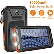 GRDE Solar Charger,10000mAh Solar Power Bank Portable External Backup Battery Pack Dual USB Solar Phone Charger with 2LED Light Carabiner and Compass for iPhone Series, Smartphones(Orange)