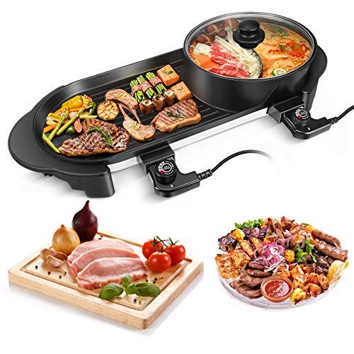 Kacsoo Hot Pot - Parrilla eléctrica de mesa con tapa variable 5...