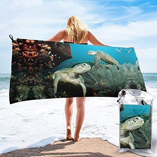 FLDONG Toalla de secado rápido con impresión de tortugas marinas, ultra suave, compacta, ligera, adecuada para camping, gimnasio, playa, natación, yoga, hogar 81.5 x 163 cm