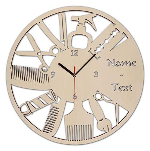 Wand Uhr Friseursalon Geschenke Geschenkartikel Eröffnung Geburtstag Friseurin Friseur mit Gravur aus Holz personalisiert