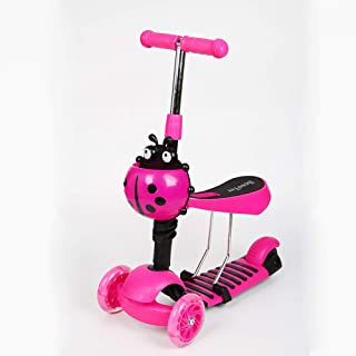 3 in 1 Kick Scooter for Kids with Folding Seat,Mini Kick Scooter Aluminum Folding Scooters with LED Light Up Wheels, Adjus...
