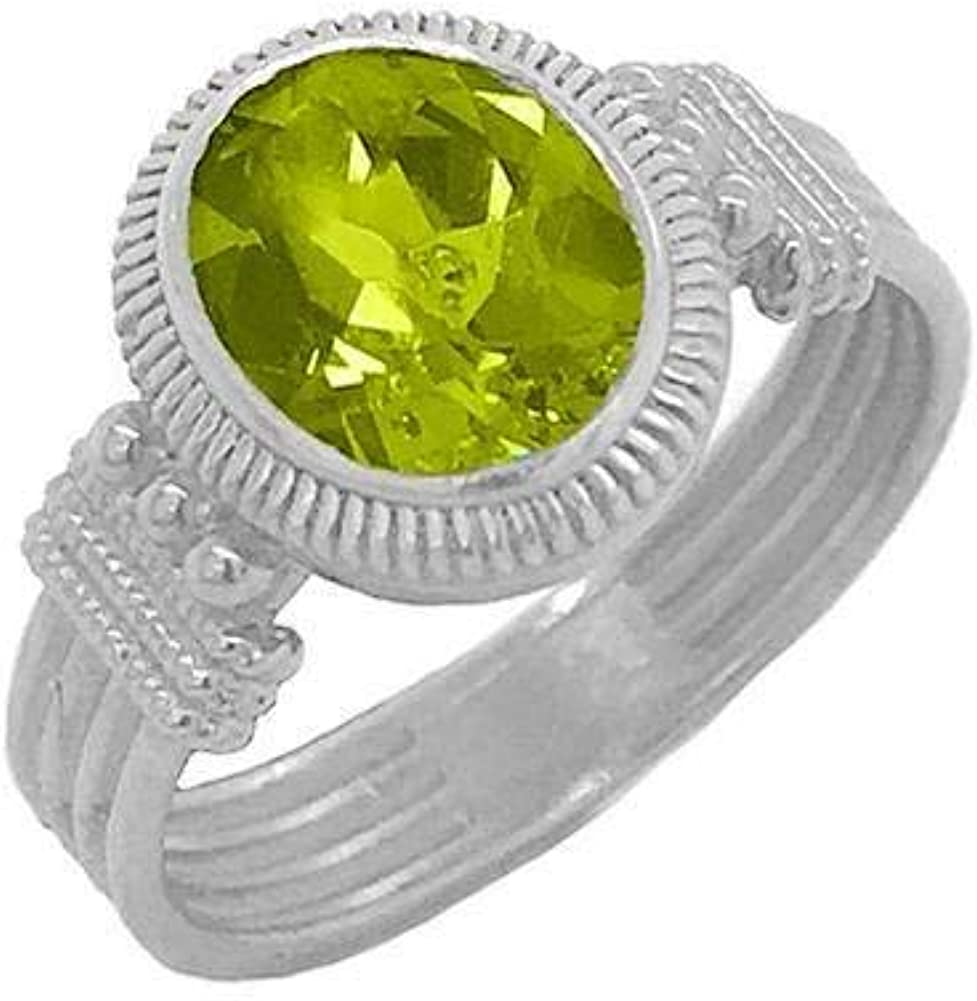 Solid Sterling High quality Latest item Silver Milgrain Statement Oval Peridot Ring