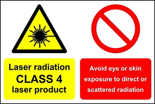 Laserstraling CLASS 4 laserproduct Voorkom blootstelling aan ogen of huid aan direct of verspreid stralingsbord - Zelfklevende sticker 400mm x 300mm