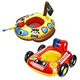 2 Pack Inflatable Kids Pool Float with Water Gun, Firetruck and Pirate Ship Pool Floats for Toddler, Blow Up Swimming Pool Toys for Toddlers, Fun Boat Shaped Ride-On Floaties for Boys Girls and Child
