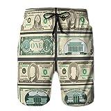 jiilwkie Pantaloncini da Bagno da Spiaggia da Uomo con Tasca in Banconote da Un Dollaro in valuta monetaria bi L
