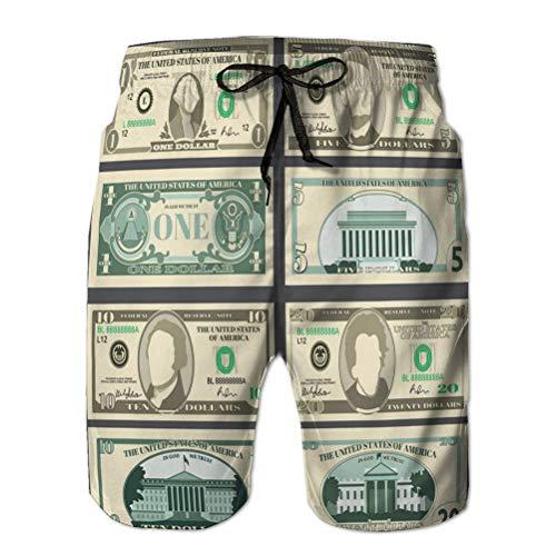 qianfengdamaoyi Hombres con cordón Cintura elástica bañadores Pantalones Cortos de Playa Billetes de dólar Moneda Estadounidense Billetes de Dinero