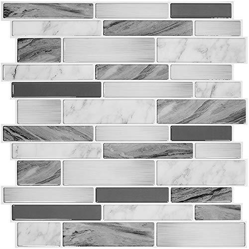 "STICKGOO 10-Sheet Peel and Stick Backsplash Tiles for Kitchen, 12""x12"" Thicker Design"