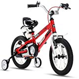 RoyalBaby Kids Bike Boys Girls 14 Inch Space No.1 Aluminum Bicycles with Training Wheels Child Bicycle Red