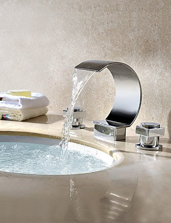 HJKDGH Faucet Modern Brass Two Handles Deck Mount Waterfall Basin Water Faucet Chrome Finish