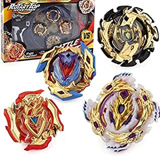 Golden 4 pieces bey battle gyro burst Beyblade evolution attack set for battling top game metal (4D ROTARY) top superpower...