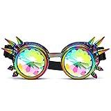 manadlian Lunettes de Kaléidoscope Femme, Kaleidoscope Lunettes colorées Rave Festival Party Lunettes de Soleil EDM Lentille diffusée (Multicolore)