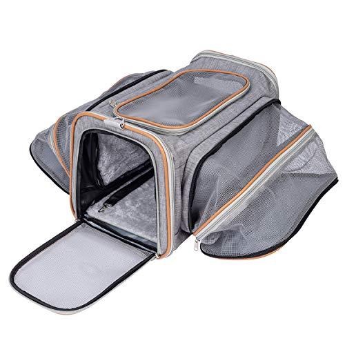 Balimo Katzentransportbox Hundetransportbox, Faltbare Haustiertragetasche Transportbox mit Weicher Flanellmatte & Schultergurt, Reisetasche Transporttasche für Katzen und kleine Hunde, 46 * 28 * 28cm
