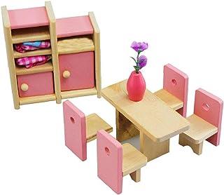 Doll House Mini Décoration Poupée Meubles Meubles Toy en bois 1 Échelle Miniature Salle à manger Ensemble Dollhouse Access...