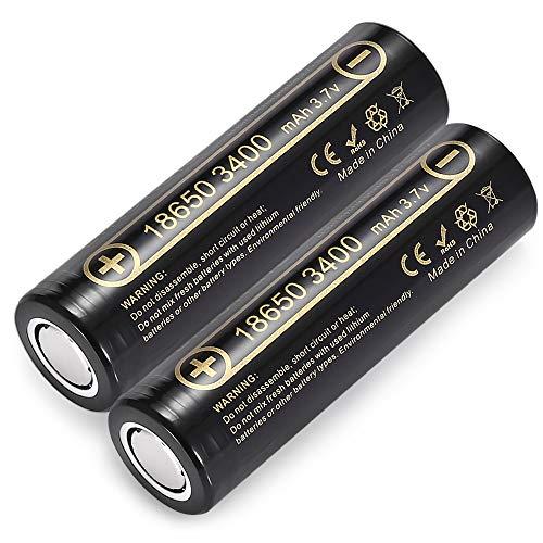2 Batterie HK Lii-34A 3.7V 18650 3400Mah per Batteria Ricaricabile Pile NCR18650B 34B per Torcia Torce Lampada