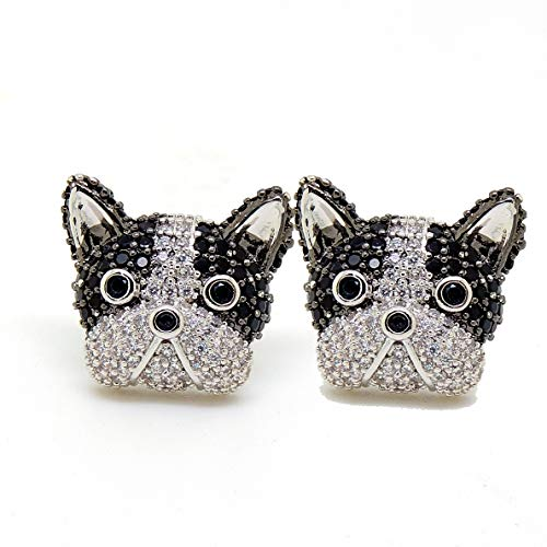 Jeweled Boston Terrier Earrings Puppy Dog Doggie CZ Cubic Zirconia Black White Stud Earring Pup Dog Paw Print Jewelry for Woman Girls Ginger Lyne Collection