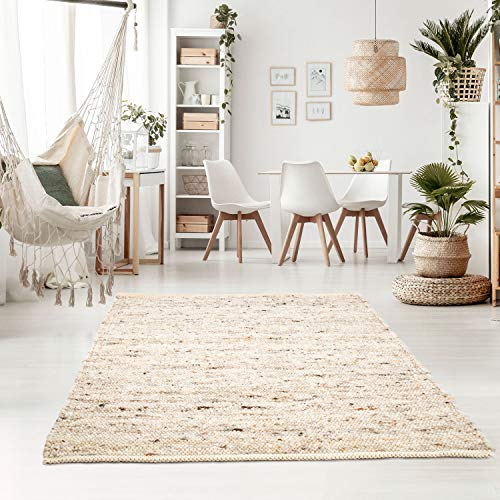 Taracarpet Handweb-Teppich Oslo Wolle im Skandinavischem Landhaus Design Wohnzimmer Esszimmer Schlafzimmer Flur Läufer beidseitig verwendbar 070x130 cm Sand Multi